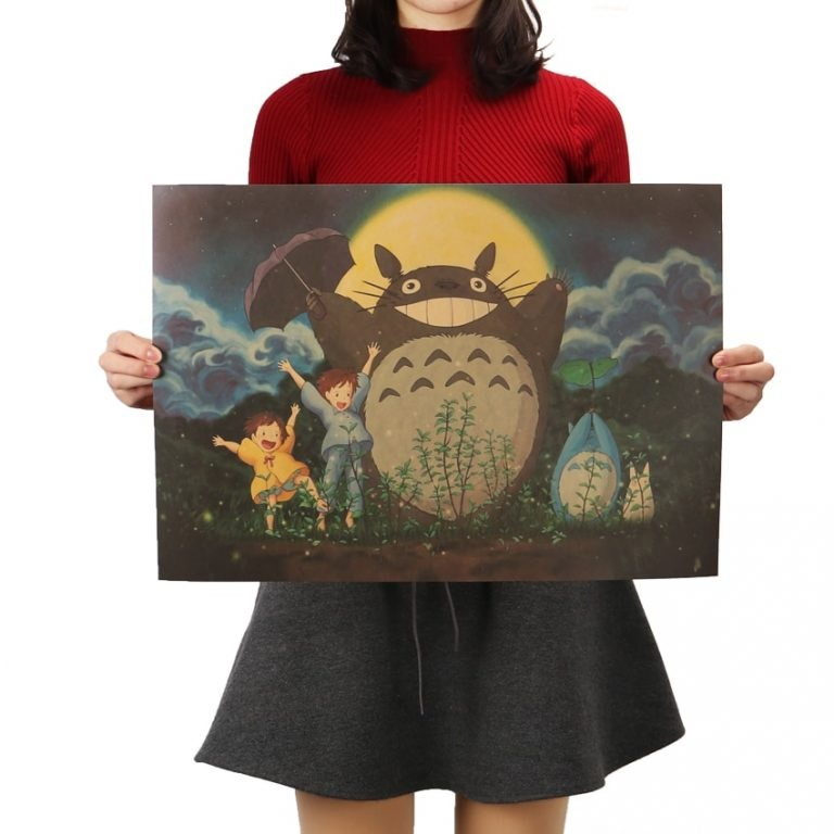 Vintage Cartoon Anime Totoro Poster