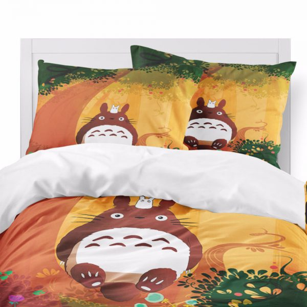 Anime Totoro Autum Theme Bedding Set