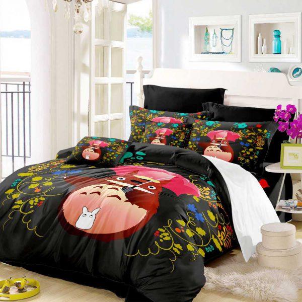 Black Style Anime Totoro Bedding Set