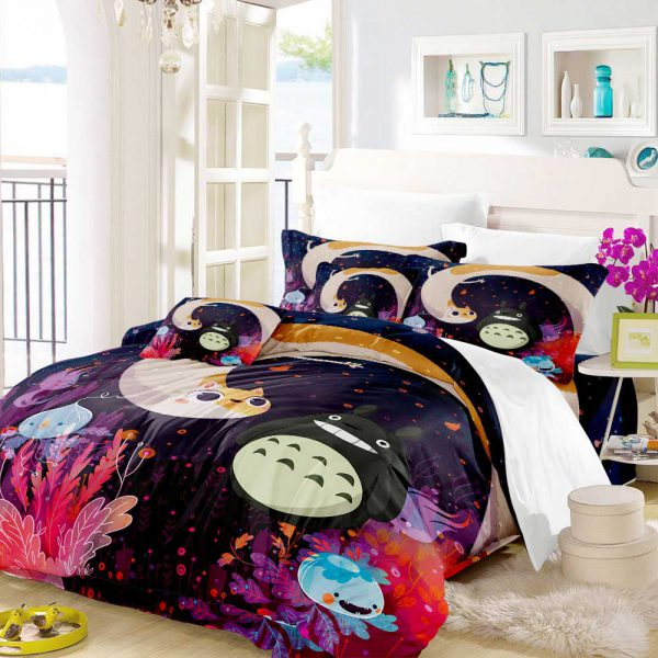 Unique Black Totoro Style Bedding Set