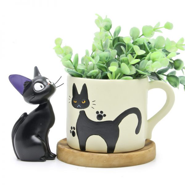 1set Figures Toy Cute Cup Kiki Cat Flower Pot