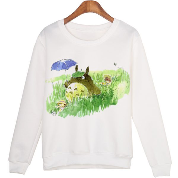Totoro With Leaf And Totoro With  Umbrella Sweatshirts