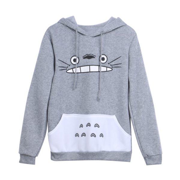 Anime Totoro Hoodie Casual Grey Hoodie