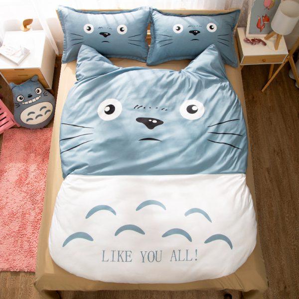 3 Pieces New Totoro Blue Bedding