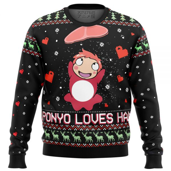 Ponyo Loves Ham Premium Ugly Christmas Sweater