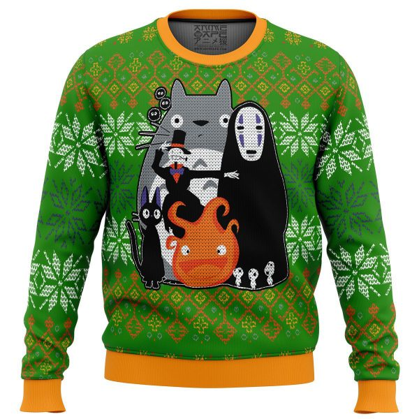 Studio Ghibli Miyazaki Squad Premium Ugly Christmas Sweater