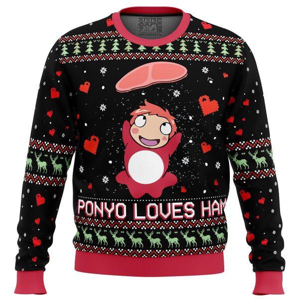 Ponyo Loves Ham Miyazaki Premium Ugly Christmas Sweater