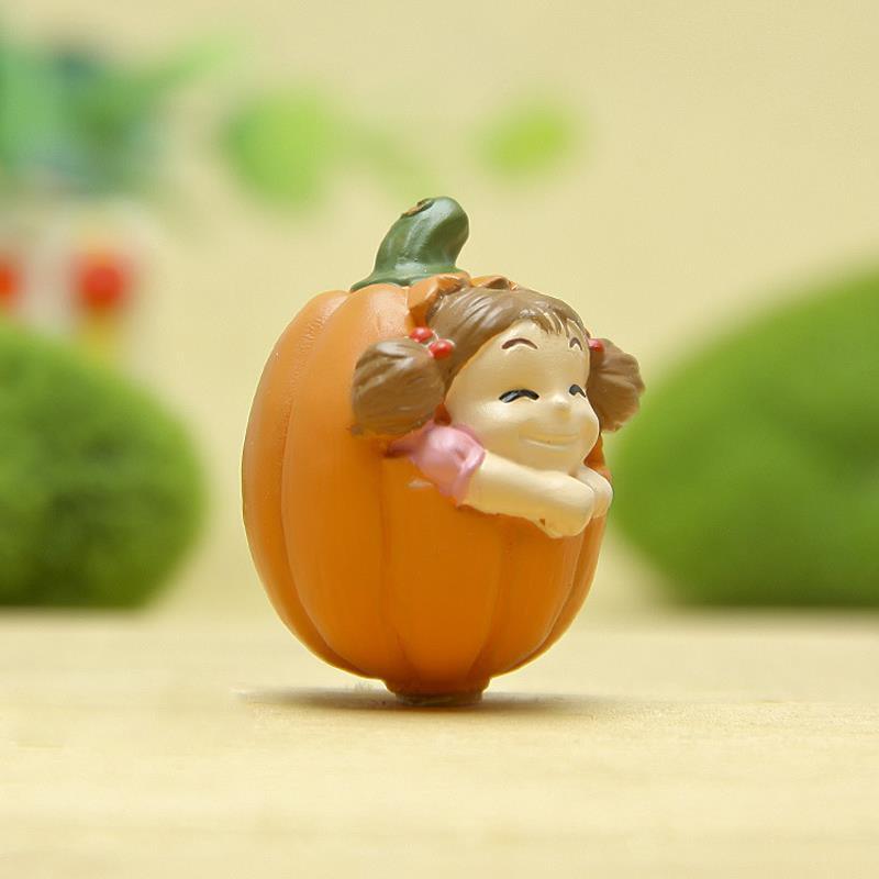 DIY Pumpkin White Totoro Lamp Figurines