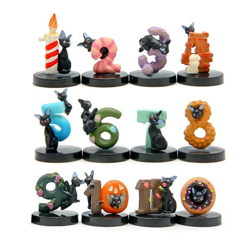 12pcs/lot Black JiJi Cat Cosplay Digital 0-11 PVC