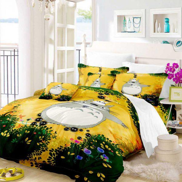 Orange Cute Totoro Style Bedding Set