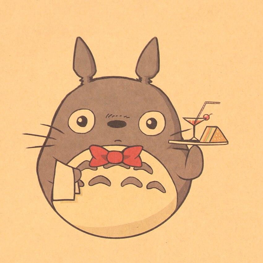Cartoon Totoro Expression Kraft Paper Poster